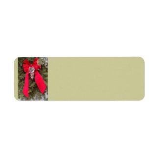 Christmas Red Bow Return Address Label