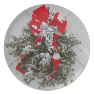 Christmas Red Bows Plate
