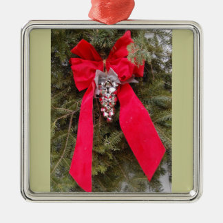 Christmas Red Bows Silver-Colored Square Decoration