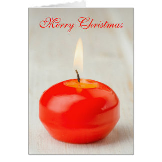 Christmas Red Candle Lit Greeting Card
