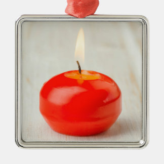 Christmas Red Candle Lit Silver-Colored Square Decoration