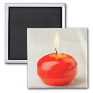 Christmas Red Candle Lit Square Magnet