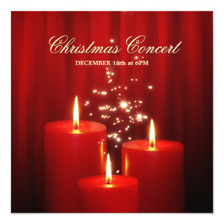 Christmas Red Candles concert invitation