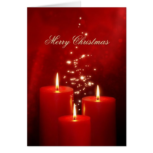 Christmas Red Candles greeting card