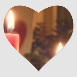 Christmas Red candles Heart Sticker