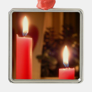 Christmas Red candles Silver-Colored Square Decoration