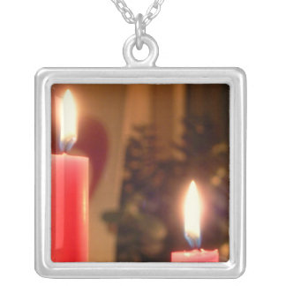 Christmas Red candles Square Pendant Necklace