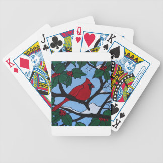 Christmas Red Cardinal Bicycle Playing Cards