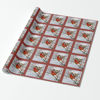 Christmas, Red Cardinal Bird and Snow Wrapping Paper