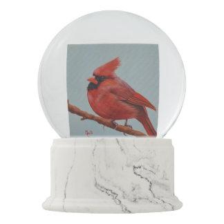 Christmas Red Cardinal Bird Painting Snow Globe