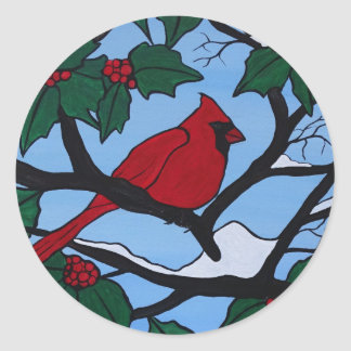 Christmas Red Cardinal Classic Round Sticker