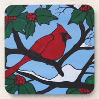 Christmas Red Cardinal Drink Coasters