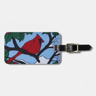 Christmas Red Cardinal Luggage Tag