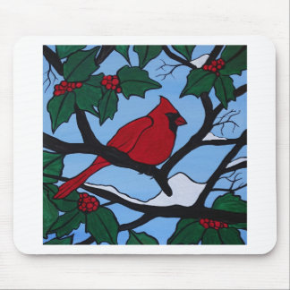 Christmas Red Cardinal Mouse Pad