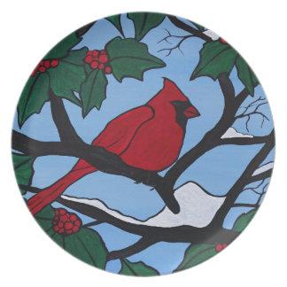 Christmas Red Cardinal Plate
