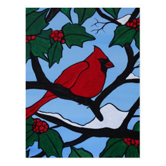 Christmas Red Cardinal Postcard