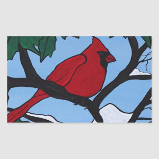 Christmas Red Cardinal Rectangular Sticker