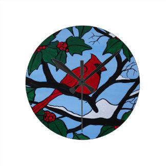 Christmas Red Cardinal Round Clock