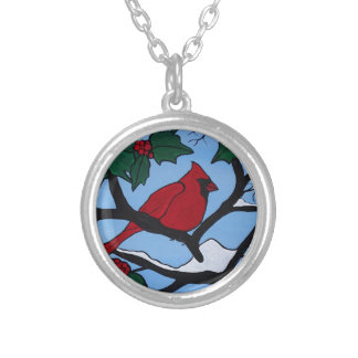 Christmas Red Cardinal Silver Plated Necklace