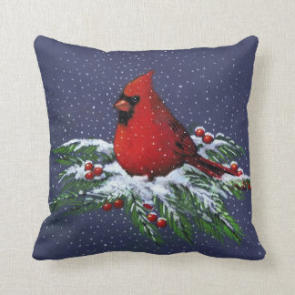 Christmas: Red Cardinal: Snowy Pine Branches: Art Cushion