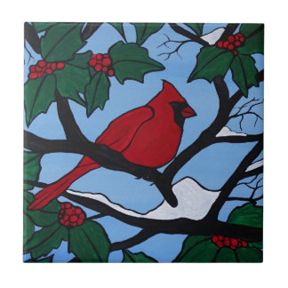 Christmas Red Cardinal Tile