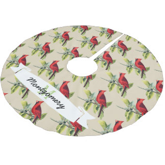 Christmas Red Cardinals & Family Name Brushed Polyester Tree Skirt