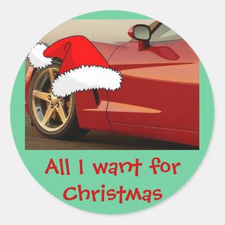 Christmas Red Corvette Classic Round Sticker