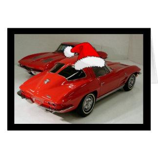 Christmas Red Corvette Classic Split Window Card