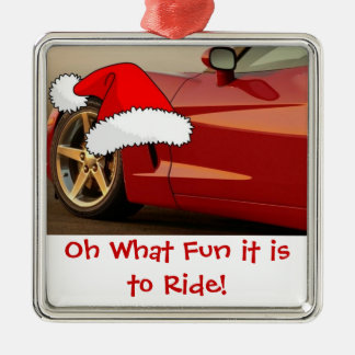 Christmas Red Corvette Gifts Metal Ornament