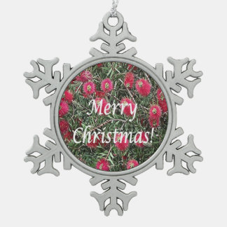 Christmas Red Flowers Snowflake Pewter Ornament