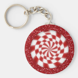 Christmas Red Glitter Peppermint Candy Keychain
