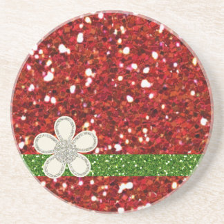 Christmas Red Glitters Coaster