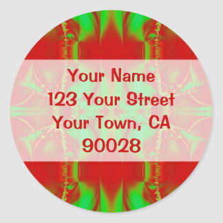 Christmas red green Address Labels Round Sticker