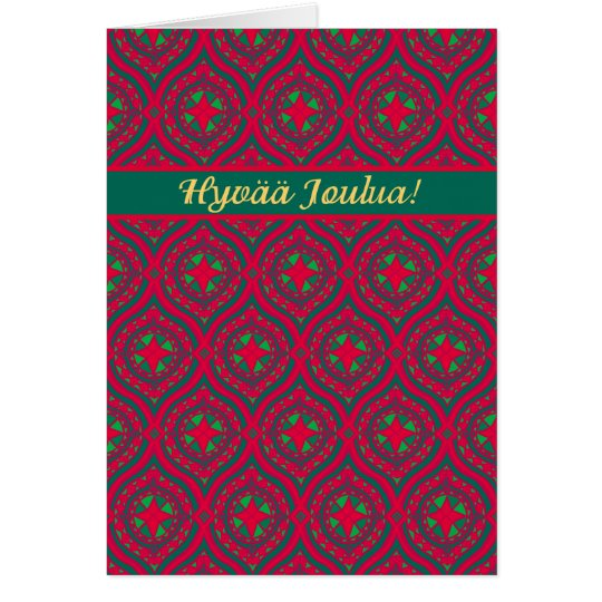 Christmas Red Green Baubles, Finnish Greeting Card