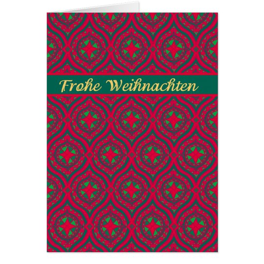Christmas Red Green Baubles, German Greeting Card