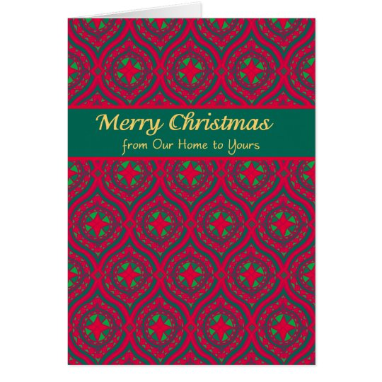 Christmas Red, Green Baubles Our Home to Yours Card