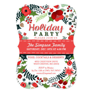 Christmas Red & Green Floral Holiday Party Invite