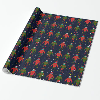 Christmas Red & Green Medium Robot Santas In Space Wrapping Paper