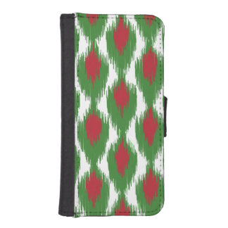 Christmas Red Green Tribal Ikat Diamond Pattern