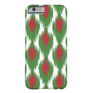 Christmas Red Green Tribal Ikat Diamond Pattern Barely There iPhone 6 Case