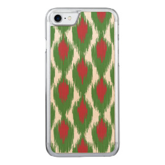 Christmas Red Green Tribal Ikat Diamond Pattern Carved iPhone 7 Case