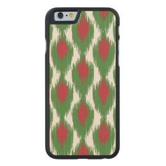 Christmas Red Green Tribal Ikat Diamond Pattern Carved® Maple iPhone 6 Case