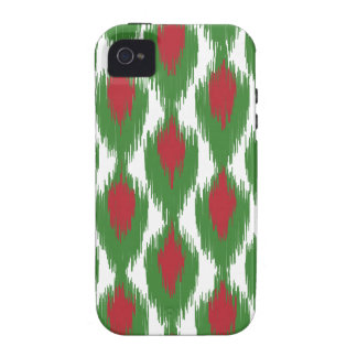 Christmas Red Green Tribal Ikat Diamond Pattern iPhone 4/4S Cases