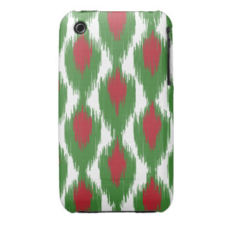 Christmas Red Green Tribal Ikat Diamond Pattern iPhone 3 Cover