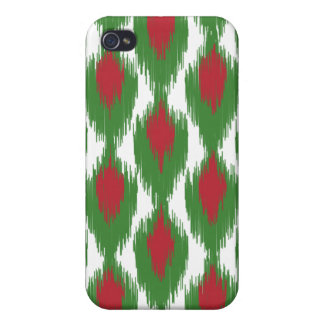 Christmas Red Green Tribal Ikat Diamond Pattern iPhone 4 Case