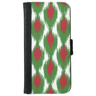 Christmas Red Green Tribal Ikat Diamond Pattern iPhone 6 Wallet Case
