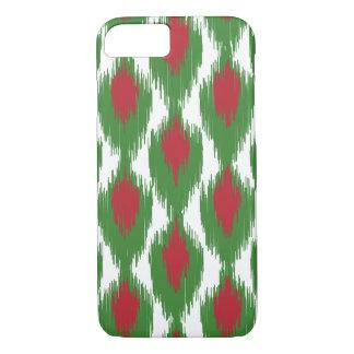 Christmas Red Green Tribal Ikat Diamond Pattern iPhone 7 Case