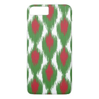 Christmas Red Green Tribal Ikat Diamond Pattern iPhone 7 Plus Case