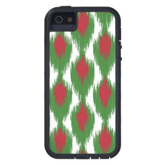 Christmas Red Green Tribal Ikat Diamond Pattern Tough Xtreme iPhone 5 Case