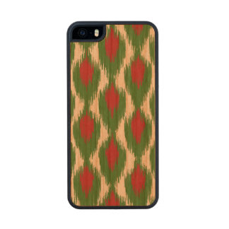 Christmas Red Green Tribal Ikat Diamond Pattern Wood iPhone SE/5/5s Case